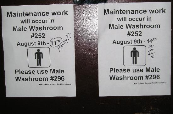 University of Toronto - New College Residence - Wilson Hall Residence: Non-working Bathroom - Wetmore Hall Residence