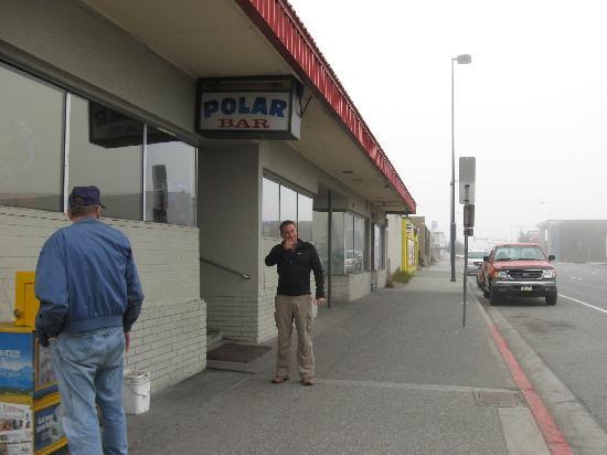 Polar Bar: Me outside pointing over to the Sheraton. Taken Sept. 2010