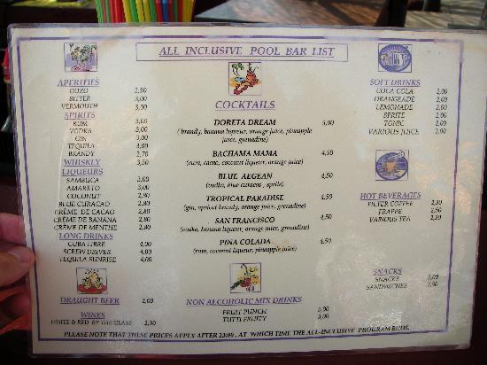 Doreta Beach Hotel : The beach bar drink list