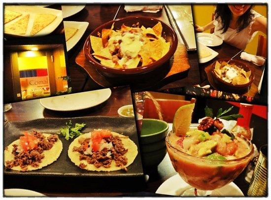 Quesadillas, nachos, beef tacos, and seafood cocktail from El Comal