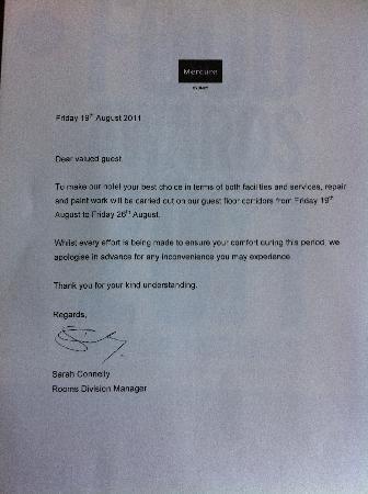 โรงแรมเมอร์คิวร์ซิดนีย์: The letter