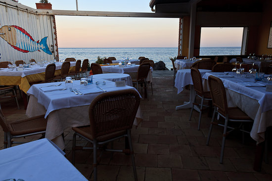 Sea Sound: View from the restaurant towards the sea (even though the sun gets beautiful during sunset, plea