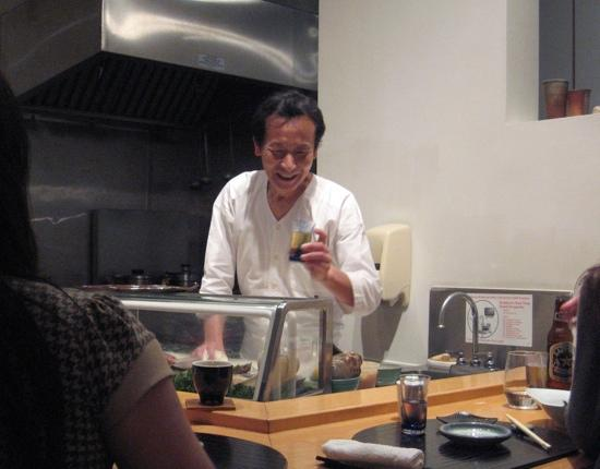 Kiss Restaurant : Chef chatting with patrons at end of meal