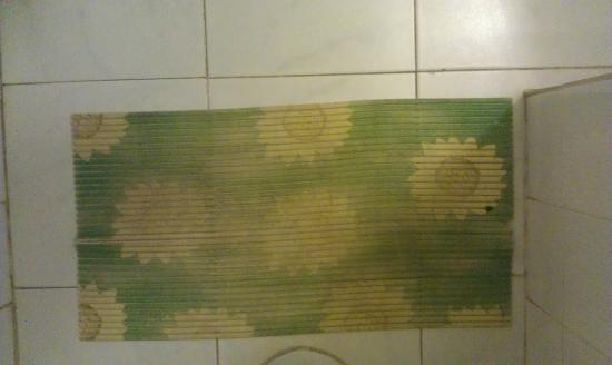 Evalena Beach Hotel Apartments -TEMPORARILY CLOSED: pee stain smelly toilet mat, not for the faint hearted
