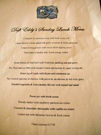 Killinchy, UK: Daft Eddy's Sunday set lunch menu
