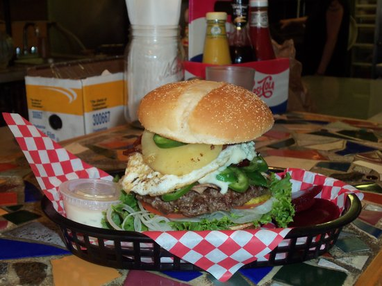 Kiwi's Takeaway : A burger with everything.  Yeah, he finished it.