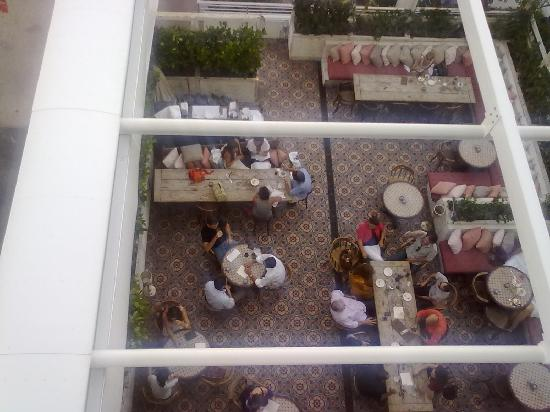 Soho Beach House: looking down onto the members restaurant
