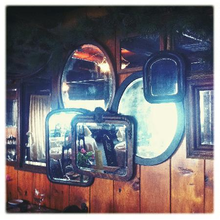 "The Captain Whidbey Inn: the ""wall of mirrors"" in the restaurant"