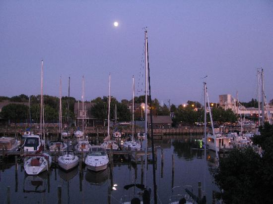 Knapp's Narrows Marina & Inn: Moonrise over the yacht basin from deck