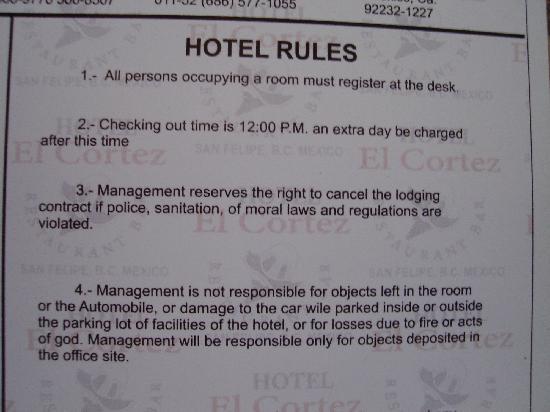 Hotel El Cortez: hotel rules 1