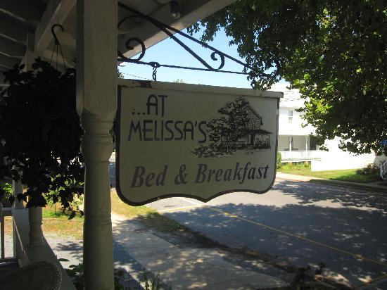 At Melissa's B & B: Front porch B&B sign