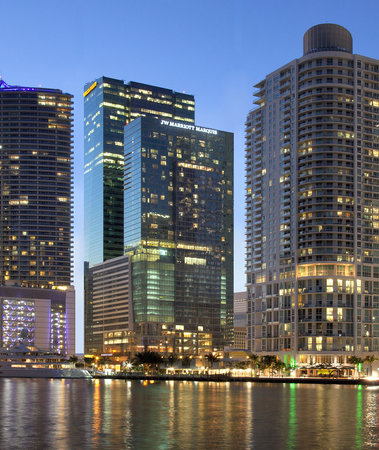 JW Marriott Marquis Miami: View of the JW Marriott Marquis from Biscayne Bay