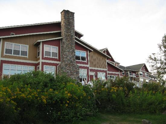 Cove Point Lodge: The Lodge's dining room and great room, as seen from the lawn.