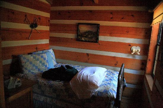 Blue Smoke Mountain Cabins: The small downstairs bedroom in the Moonshine cabin
