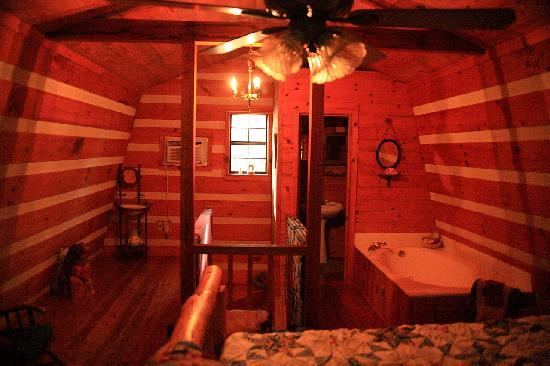 Blue Smoke Mountain Cabins: Moonshine cabin upstairs bedroom and bath