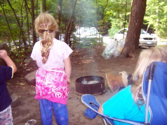 Adirondack Camping Village: enjoying the fire