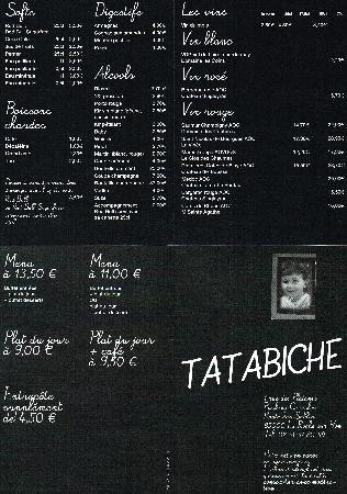Tatabiche: découvrez le menu à découvrir