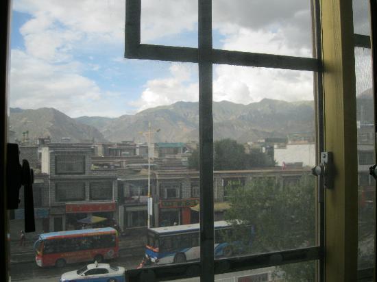 Mandala Hotel (Jiangsu Road): the view across the road, bit cloudy