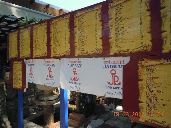 Jadran Kod Krsta: menu stand from the street