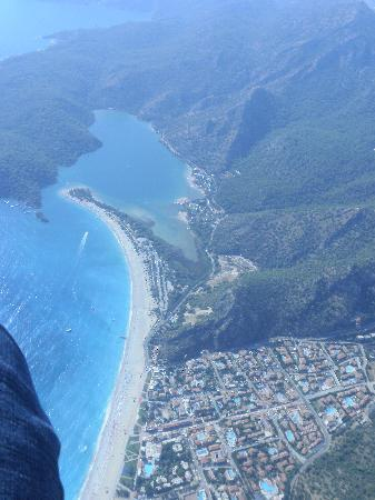 Hotel Karbelsun: Me Paragliding showing OluDeniz beach and the Blue Lagoon!  Arrgghh!