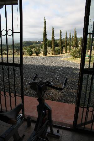 Relais Poggio del Melograno: every morning exercise on the spinning bike with fabulous view