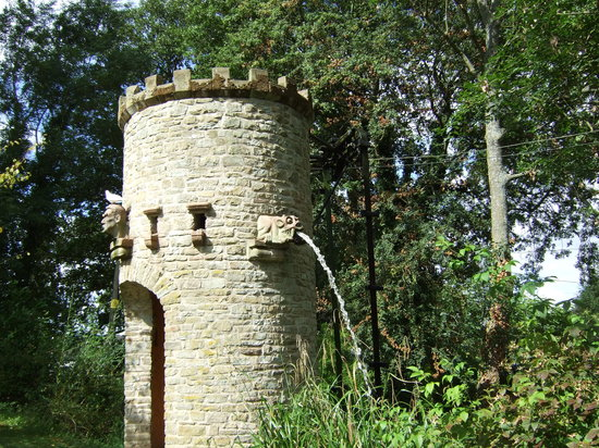 Westonbury Mill Water Gardens: Water tower with gargoyles