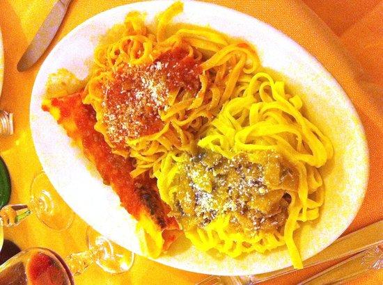 Nettuno, Italy: Misto fettuccine alla papalina (funghi) e ragù