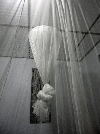 Afia Beach Hotel : An interior room view from inside the mosquito netting