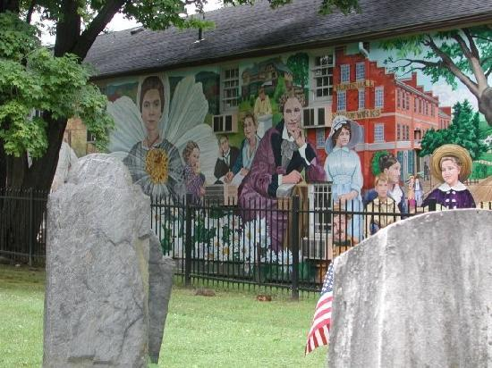 Emily Dickinson Museum: Dickinson and friends in the Amherst History Mural at the cemetery downtown