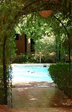 Riad Lamane: zicht op zwembad