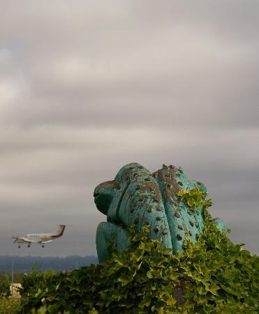 Comfort Inn Conference Center: frog statue gazing towards runway 30