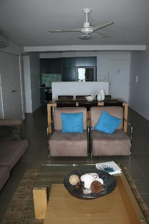 Grand Mercure Azure Sea: lounge room through to kitchen