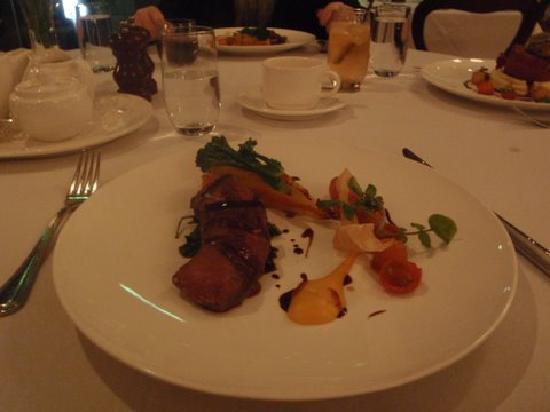 Friends Restaurant: Venison, pumpkin and potato pie, red wine and chocolate sauce