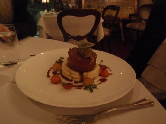 Friends Restaurant: pork belly with mash and parsnips