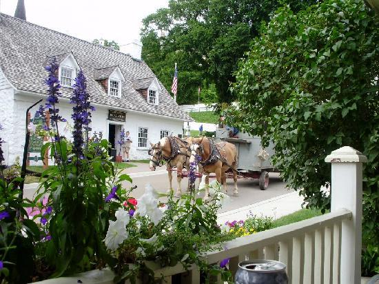 The view from Market Street Inn porch. We loved seeing the teams of horses coming around the cor