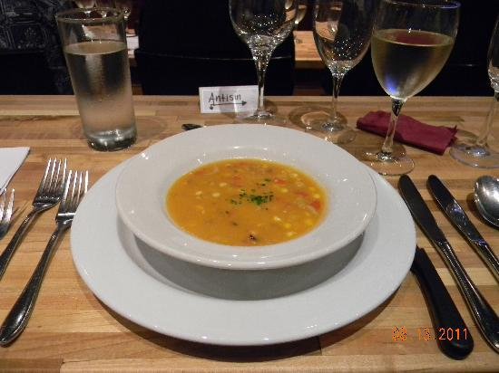 A Chef's Kitchen: Sweet Corn and Red Bell Pepper Chowder with Maiitakes and Pepper-Cured Bacon.