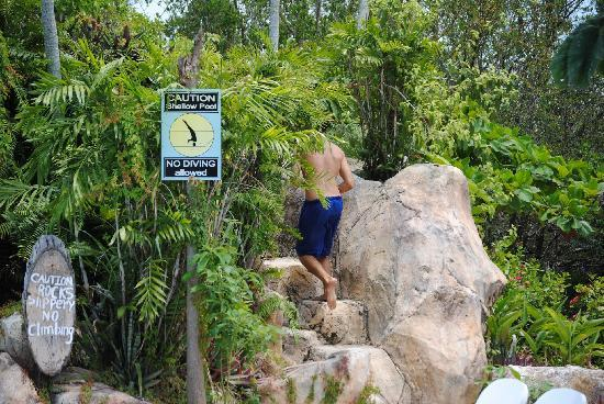 Bacab Eco Park: Climbing waterfall to get to water slide