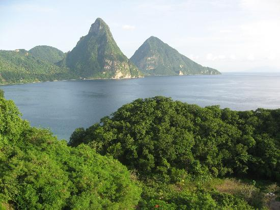 Jade Mountain Resort: View from our room.  the two Pitons.