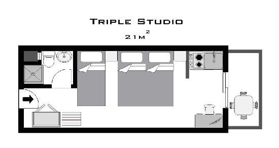 ‪فيلوكسينيا هوتل آند ستوديوز: Triple Studio Plan‬