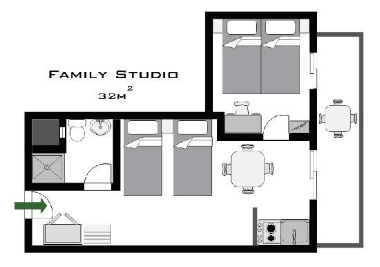 Philoxenia Hotel & Studios: Family Studio Plan
