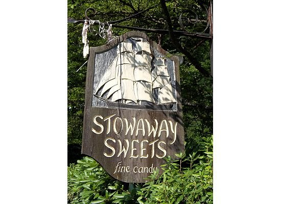 Stowaway Sweets: sign as viewed from the street