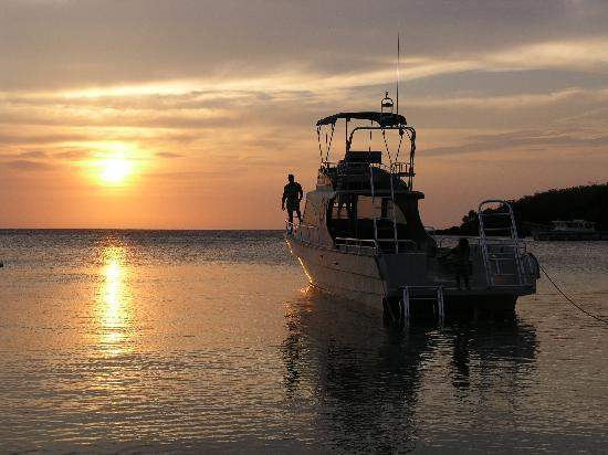 Hotel Chillies: Native Sons dive boat, at sunset , off our beach.