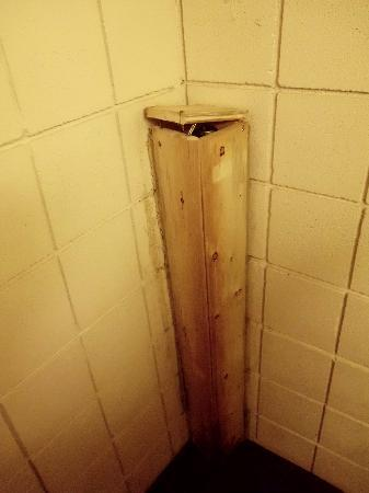 Nordegg, Canada: The wood by the bathroom sink with screws sticking out.