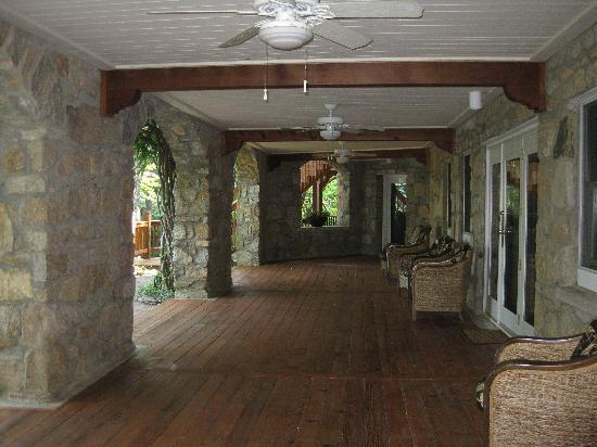 The Lodge on Lake Lure: Back covered porch.