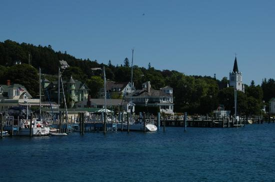 Inn on Mackinac : Another view from the water, note that St. Ann's Church is just to the right.