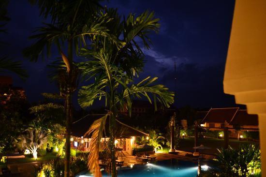 Angkor Miracle Resort & Spa: Lightning over the pool on a rainy season night