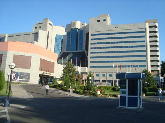 International Hotel Tashkent: View of hotel from parking lot in front