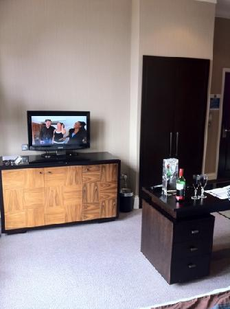 tv with fridge in unit below