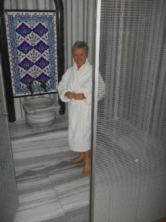 Ottoman Hotel Imperial: The bathroom is bigger than my camera can show. Here's just the shower, with a stone basin and h