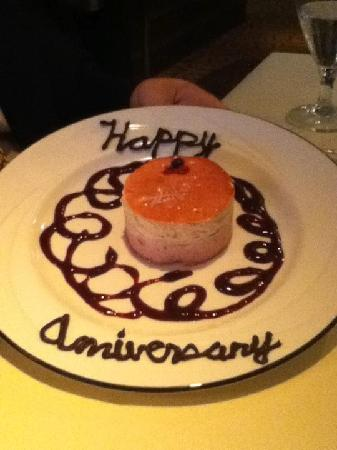 Webster's Prime Steakhouse: Our anniversary dessert - raspberry layer mousse